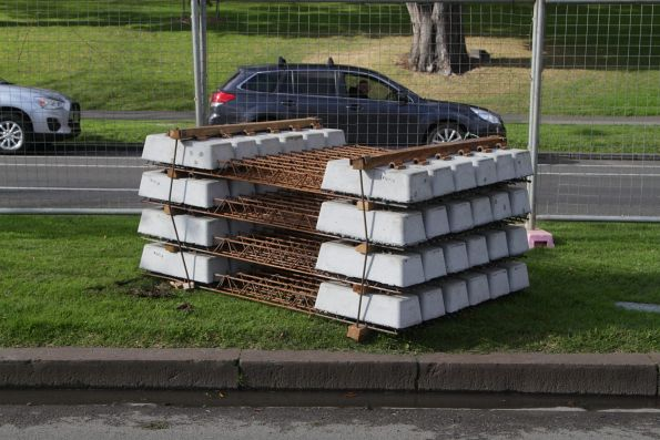 Sleepers laid out for the upcoming St Kilda Road works