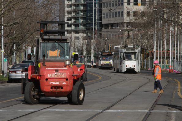St Kilda Road tram stop works