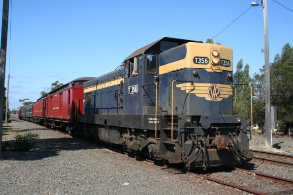 T356 in the siding at South Geelong after running around the train and letting a down Marshall through