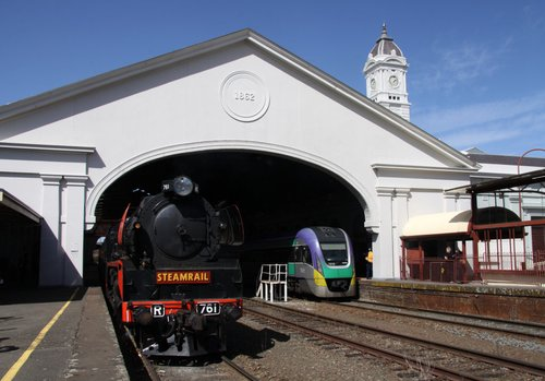 On arrival at Ballarat station, VLocity in platform 1