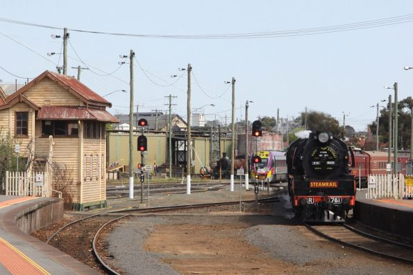 Shunting the train from the platform back into the sidings