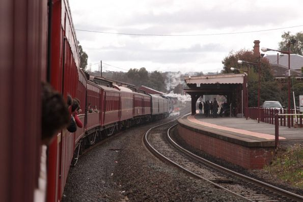 Arrival at Castlemaine station