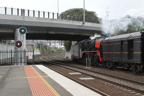 R761 leads the up empty car move tender first through Footscray
