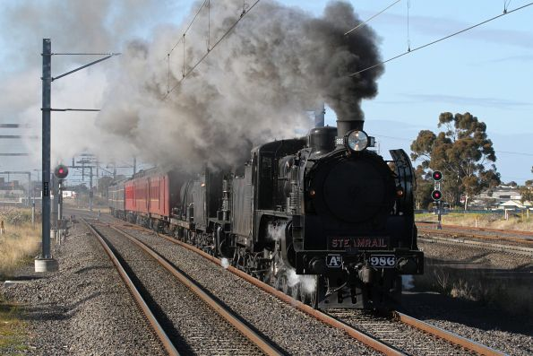A2 986 and K153 lead the down Steamrail train through Sunshine bound for Castlemaine
