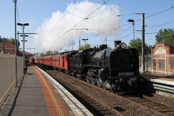 A2 986 leads the down empty car move ex-Newport at Ascot Vale