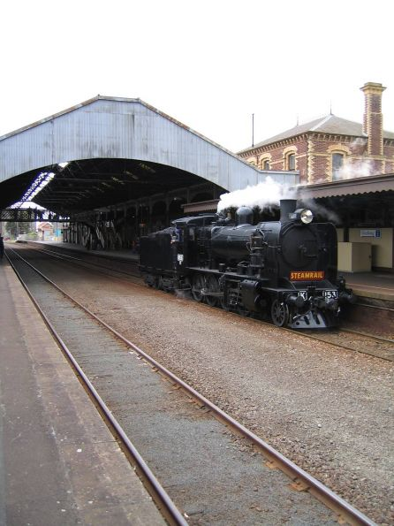 K153 running tender first, heading off to Geelong loco depot, after arrival at Geelong