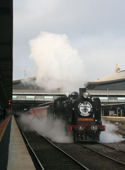Steamrail's K190 running around the train at Southern Cross, off to Geelong