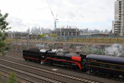 R761 leads the empty car move tender first through Footscray