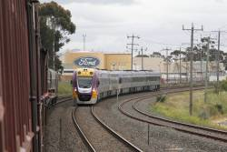 VLocity VL27 and classmate on a down Geelong service overtakes our train at North Geelong B