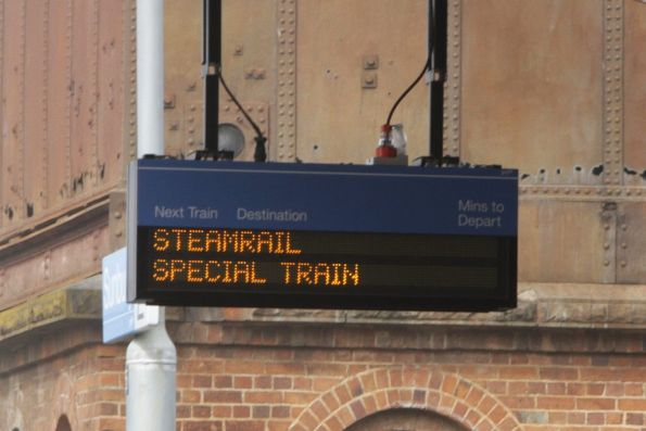 ''Steamrail Special Train' in the next train display at Sunbury