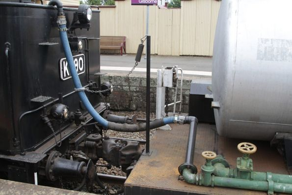Water connection between the tender of K160 and the water gin