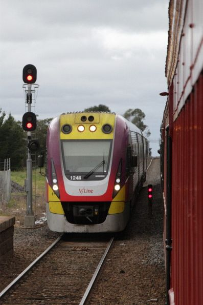 VLocity VL44 arrives at Gisborne to overtake our train