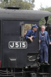 Crew on the footplate of J515