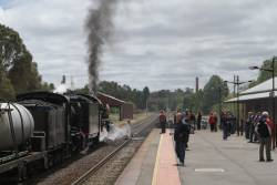 K190 and R761 on arrival at Castlemaine station