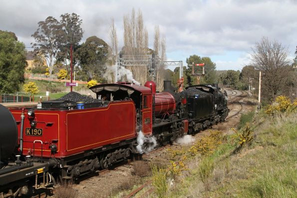 K153 and K190 awaiting departure time from Castlemaine