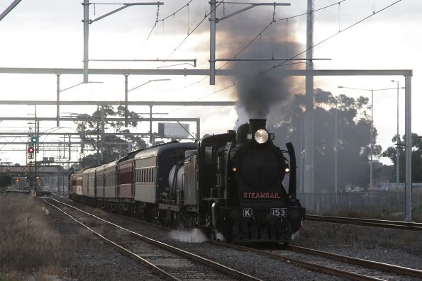 K153 leading the train back to Melbourne at Albion