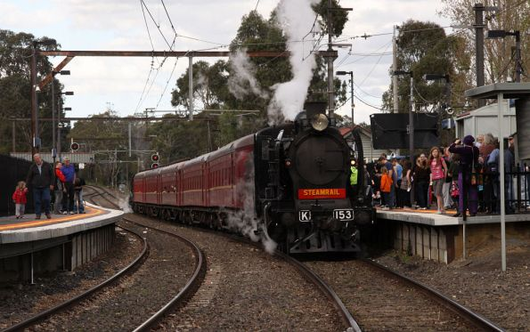 Crowds throng around as the train is ready to depart Mooroolbark