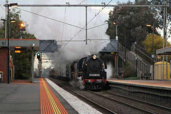 R711 leads R761 on the Snow Train through Seddon station on the up