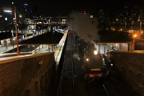 R761 leads R711 on the down empty cars through North Melbourne station