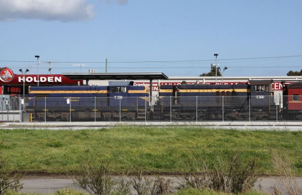 T356 and Y164 at Cranbourne - a station with all the charm of a prison