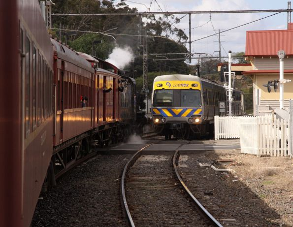 Crossing an up Alstom Comeng at Royal Park