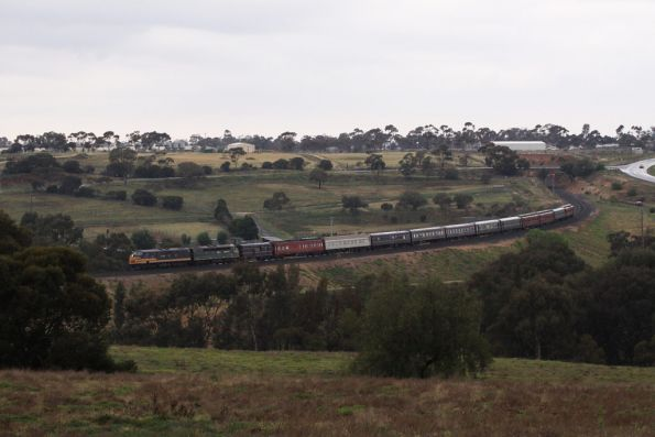 The train descends through the Parwan Curves into Bacchus Marsh