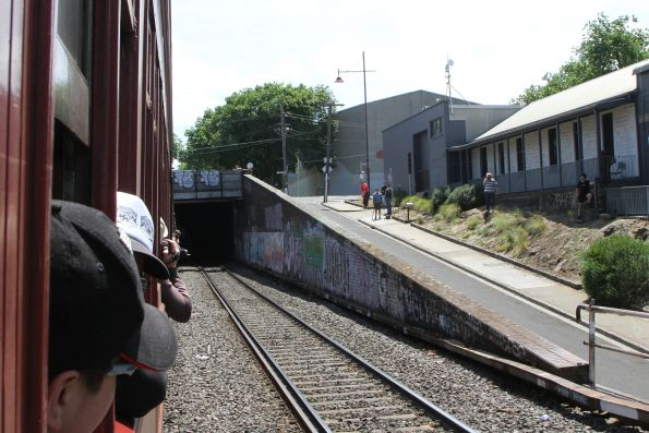 Photo line captures our train entering the Bunbury Street Tunnel