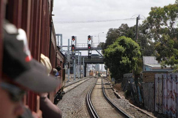 Signal cleared to take us through West Footscray and onto the Independent Goods Lines