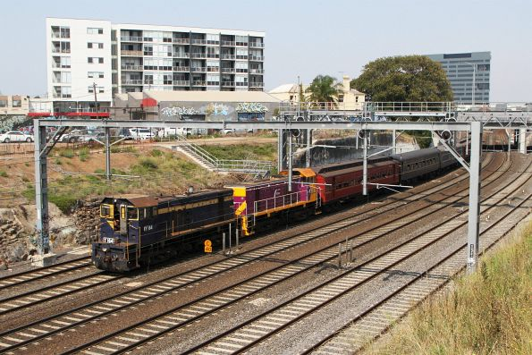 Y164 leads Y163 pass through Footscray on the up on the return from Werribee