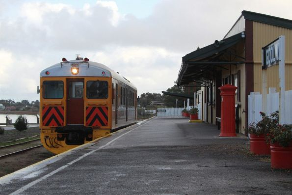 Arrival back at Goolwa, the railcar will head a few km to the Steamranger depot on the north side of town