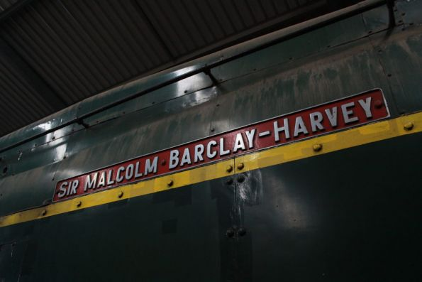 'Sir Malcolm Barclay Harvey' nameplate on classleader 520