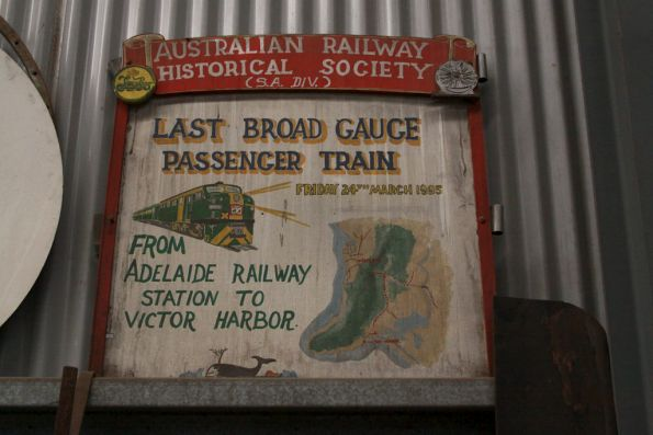 Headboard for the last broad gauge train from Adelaide to Victor Harbor in March 1995