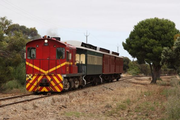 Locomotive 507 departs the depot at Goolwa to form the first train of the day