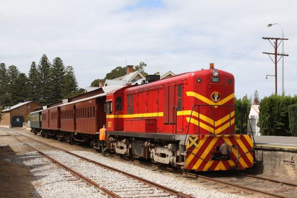 Coupling up the locomotive to the train at Victor Harbor