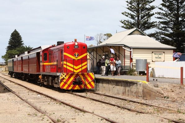 Locomotive 507 on arrival at Goolwa with the train