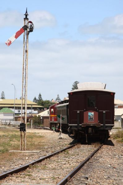 Tail end of the train passing the home signal at Victor Harbor