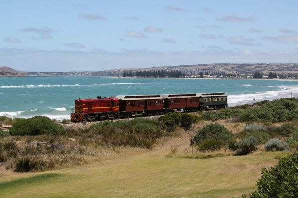 Returning to Goolwa, with Victor Harbor and Granite Island in the background