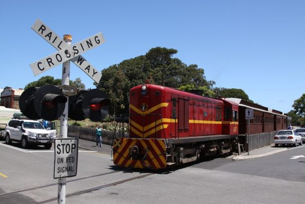 Crossing the road after departing Port Elliot station