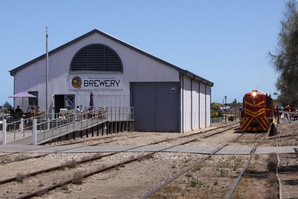 The train on arrival at Goolwa, the goods shed is now occupied by a brewery