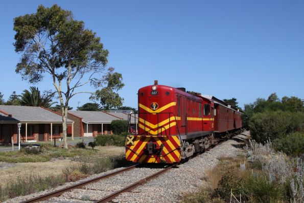 Passing through the streets of Goolwa bound for the depot out of town