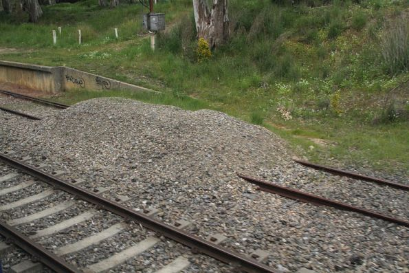 Pile of ballast marks the up end of the dual gauge track at Mount Barker Junction