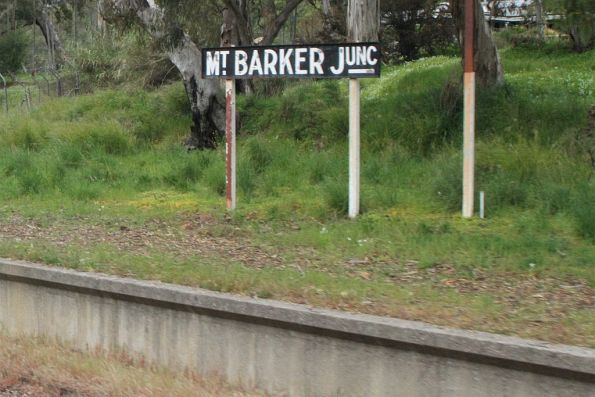 'Mt Barker Junction' sign on the platform