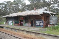 Vandalised brick station building at Mount Barker Junction