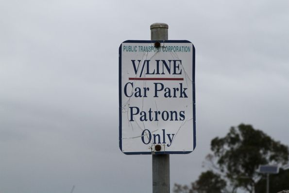 'V/Line car park' signs at Stony Point station