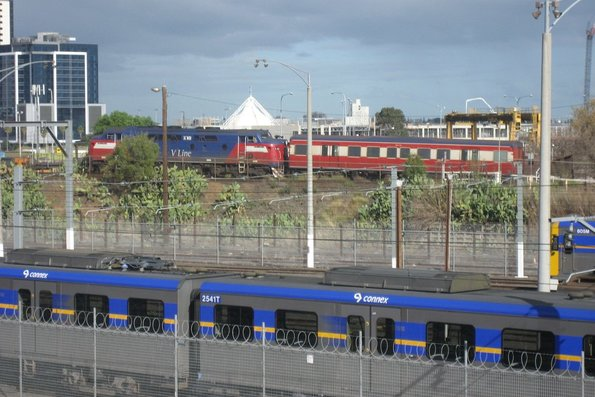 A60 leads a single MTH carriage from Stony Point over the North Melbourne flyover via the reversing loop