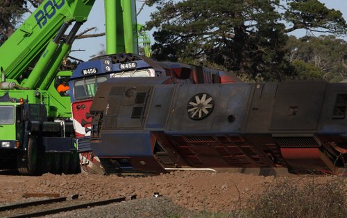V/Line derailment in September 2009 at Stonyford, Victoria - the train hit a fallen tree, leaving the two locomotives in the dirt