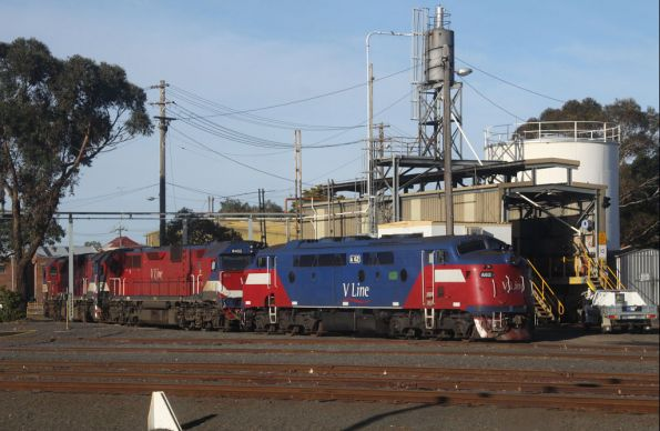 A62 stabled at Geelong loco, with damaged N452 (minus cow catchers and brakes) and N456 behind