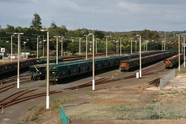 Stored wagons at Portland: from L to R - VHGY or similar, ex-NSW VHBF, 100 tonne VHNY, then more VHGY