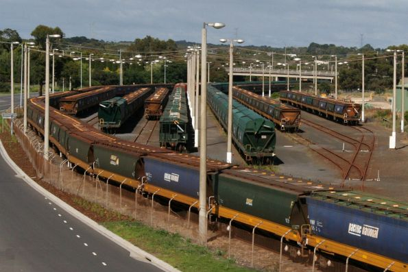 Stored grain wagons in the yard at Portland