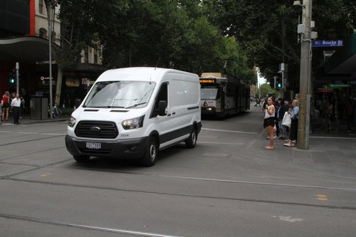 Confused van driver decides to head through the Swanston and Bourke Street tram stop